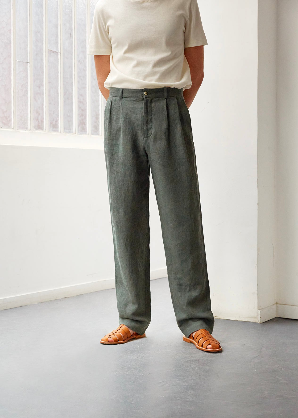 Two pleat large trousers - Washed & brushed linen - Jade - De Bonne Facture