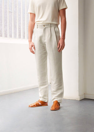 Two pleat large trousers - Organic cotton & linen - Undyed herringbone - De Bonne Facture