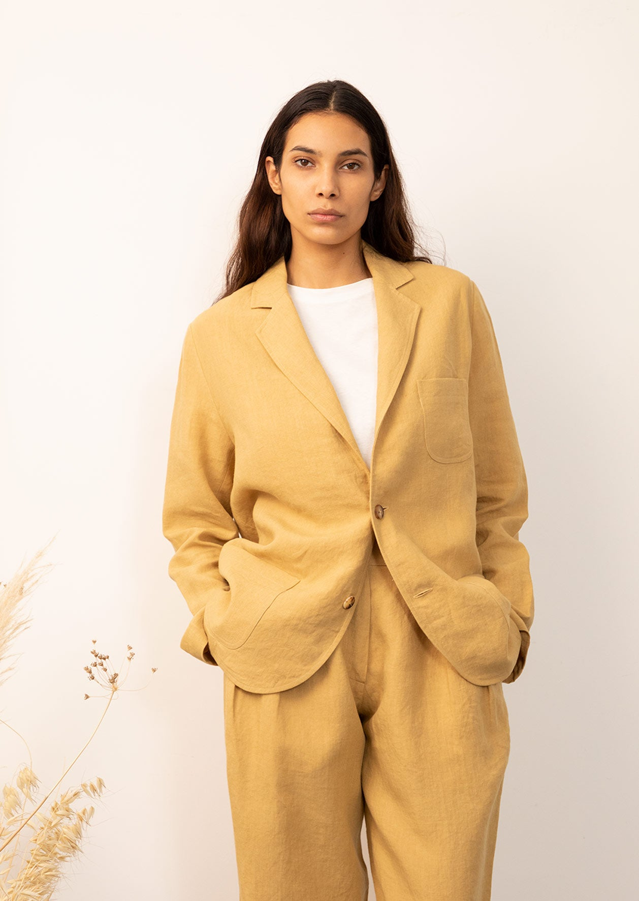 De Bonne Facture - Tailored jacket - Belgian washed linen - Straw
