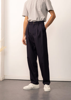 De Bonne Facture - Two pleat large trousers - Merino wool - Navy