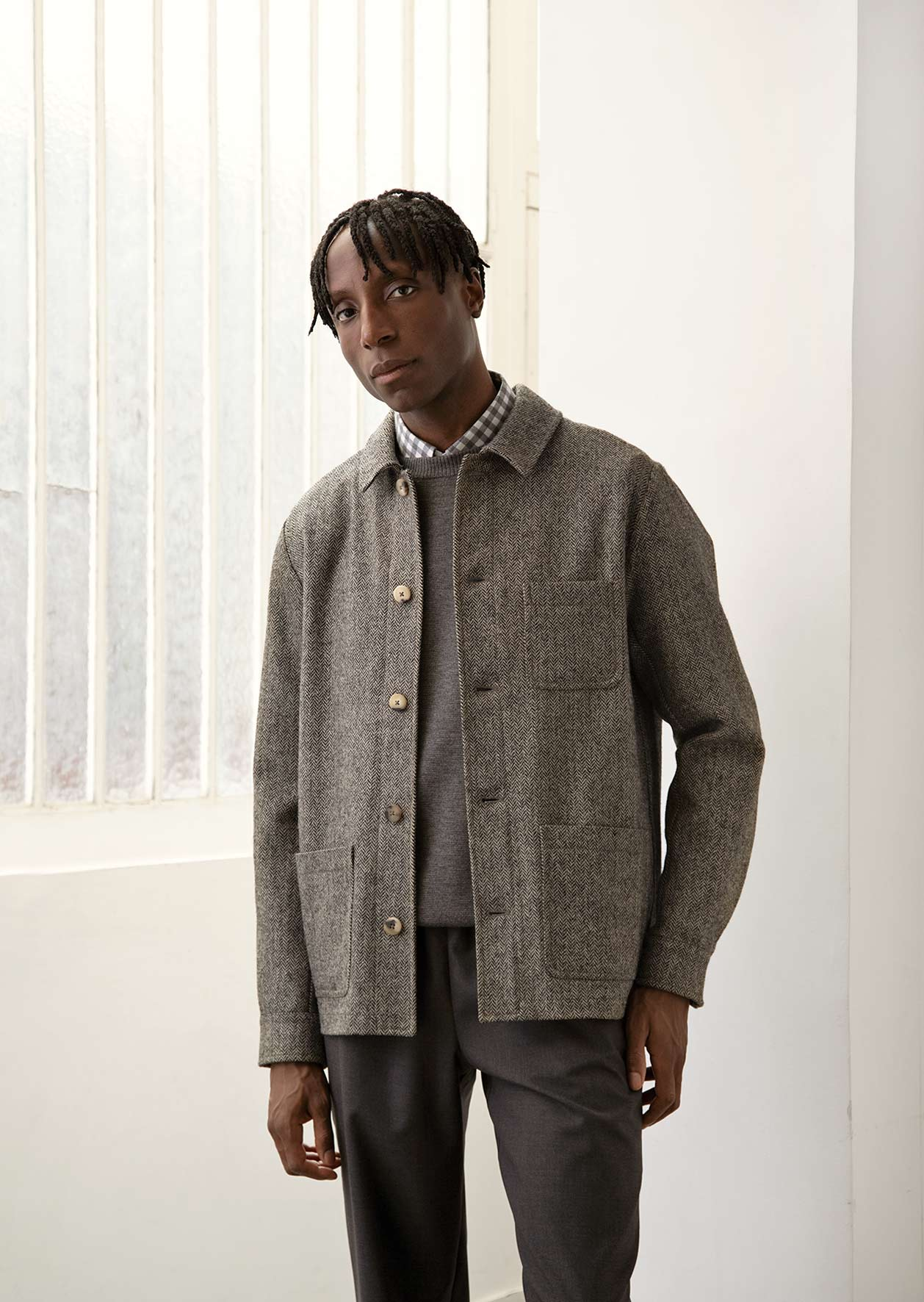 De Bonne Facture - Architect jacket - Wool - Grey & ecru herringbone