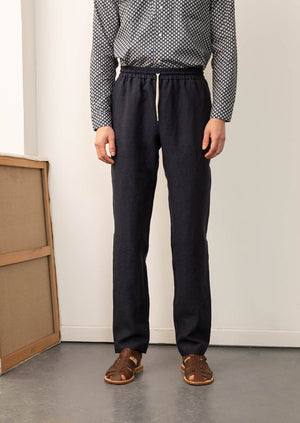 De Bonne Facture - Easy trousers - Belgian washed linen - Navy