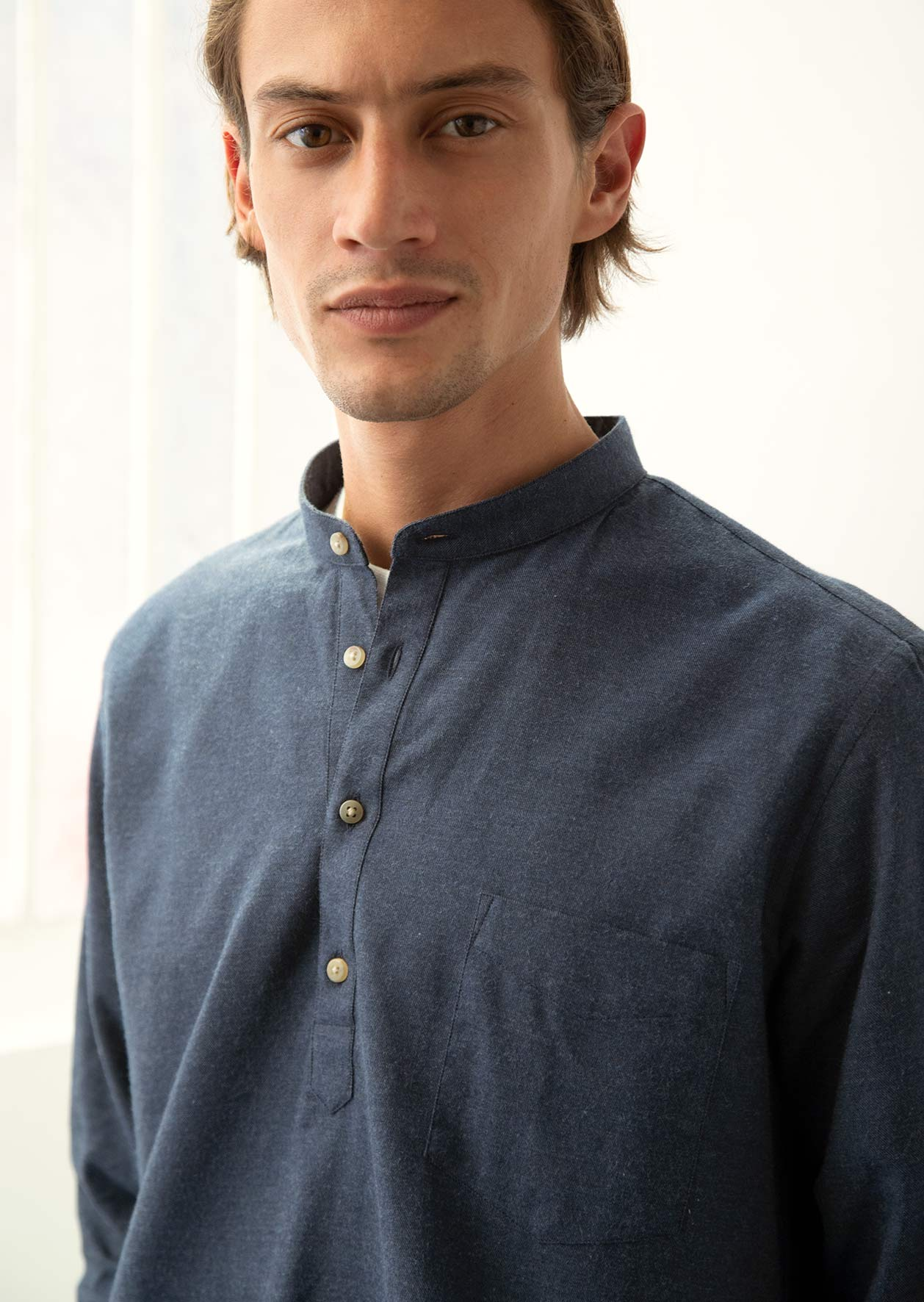 De Bonne Facture - Grandad popover shirt - Cotton wool flannel - Navy