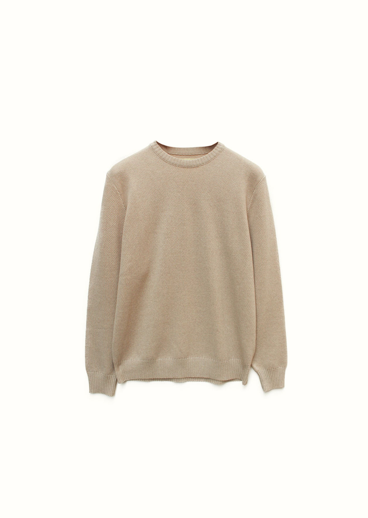 Crew neck piqué sweater