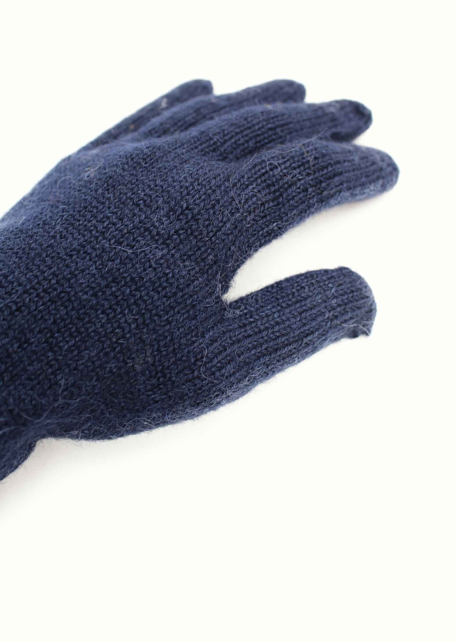 Knitted gloves - Peruvian superfine alpaca blend - Ink blue - De Bonne Facture