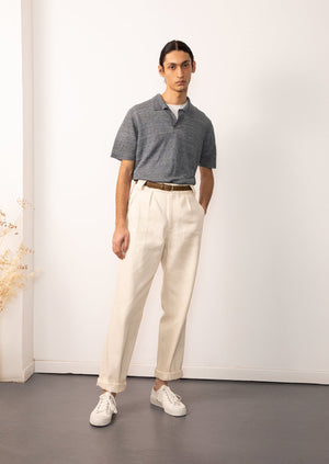 De Bonne Facture - Knitted polo shirt - Blue mouliné - Heathered linen