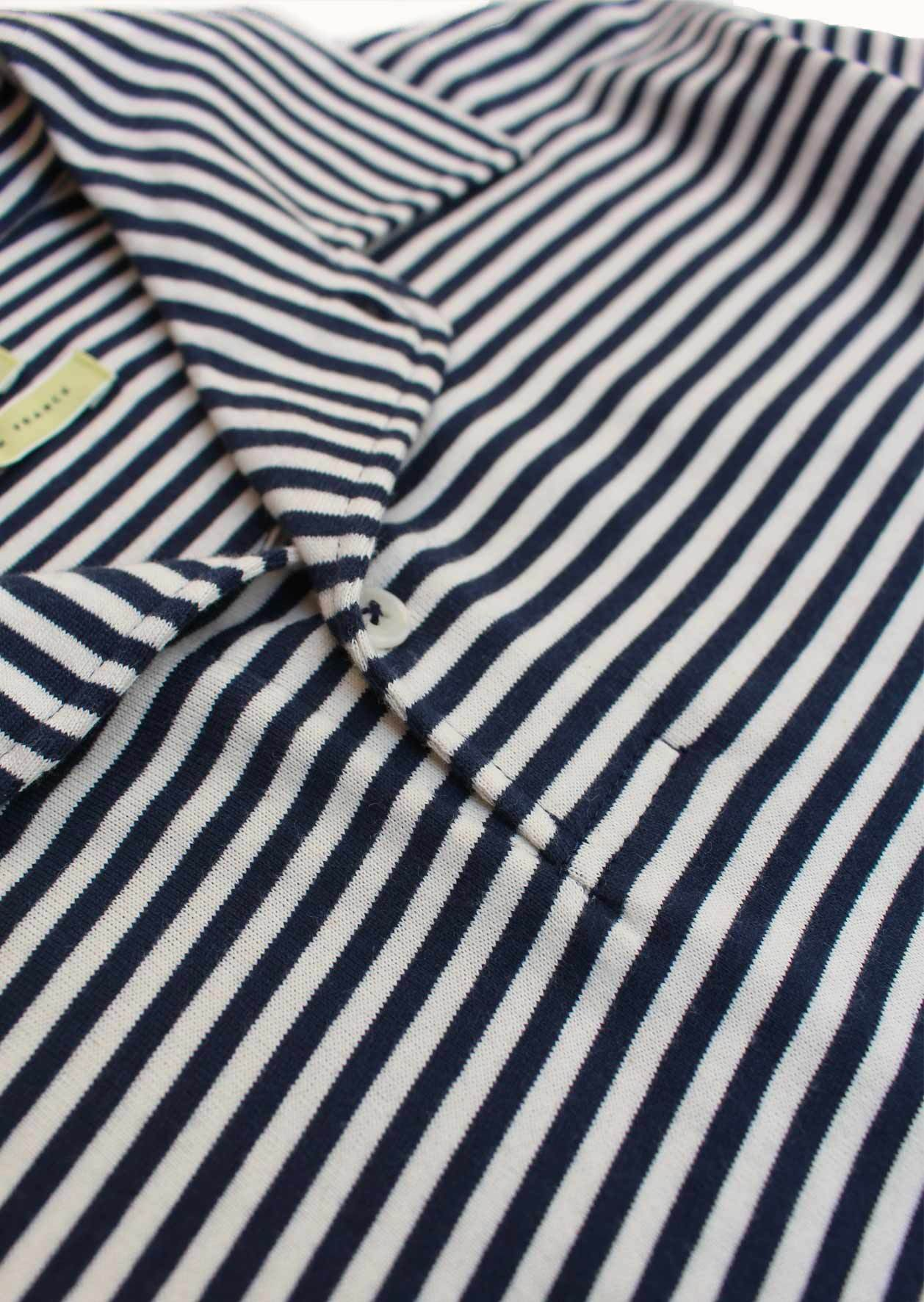 Short sleeve polo shirt - Japanese cotton jersey - Navy stripes - De Bonne Facture