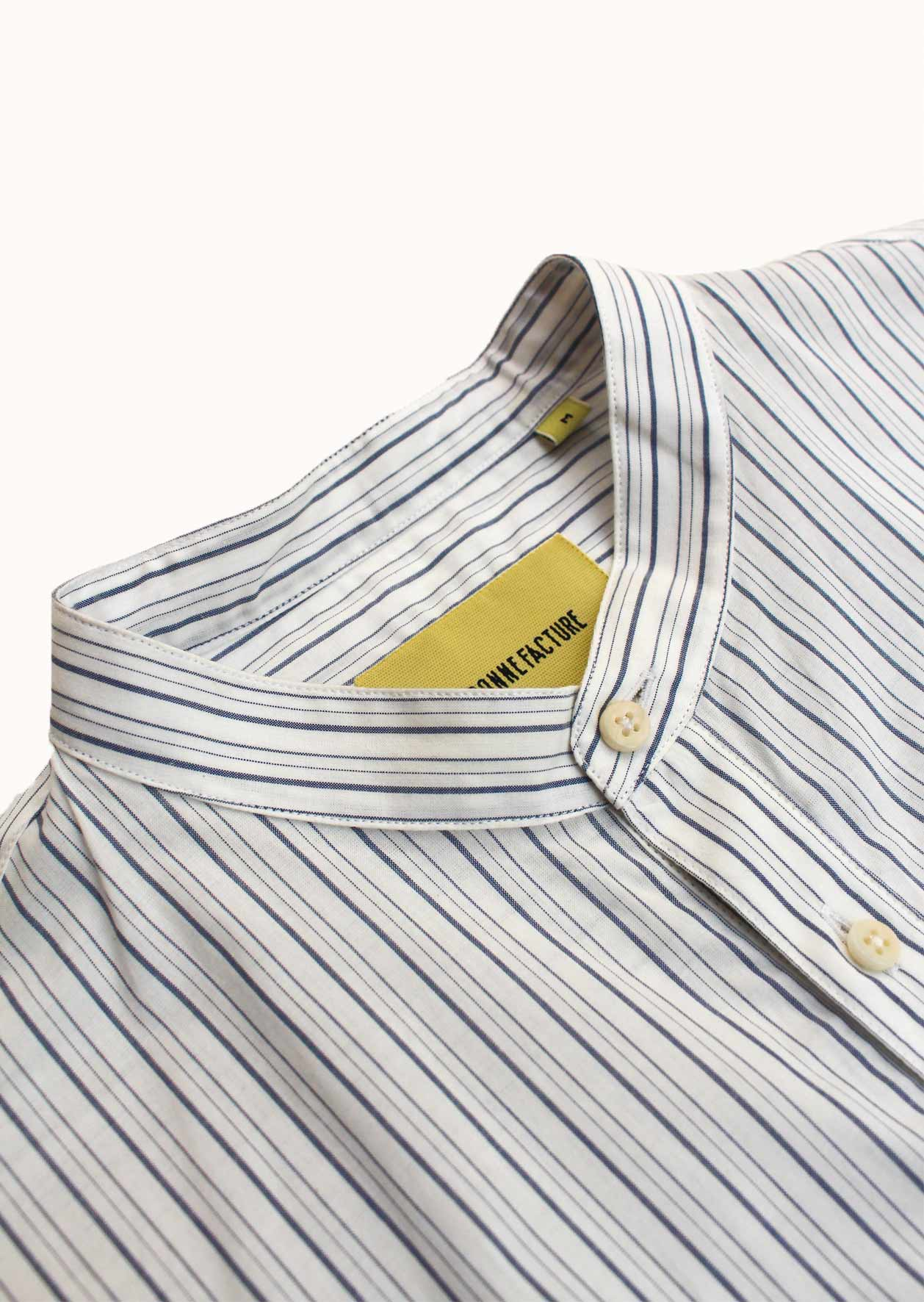Grandad popover shirt - Light poplin - White & blue stripes - De Bonne Facture