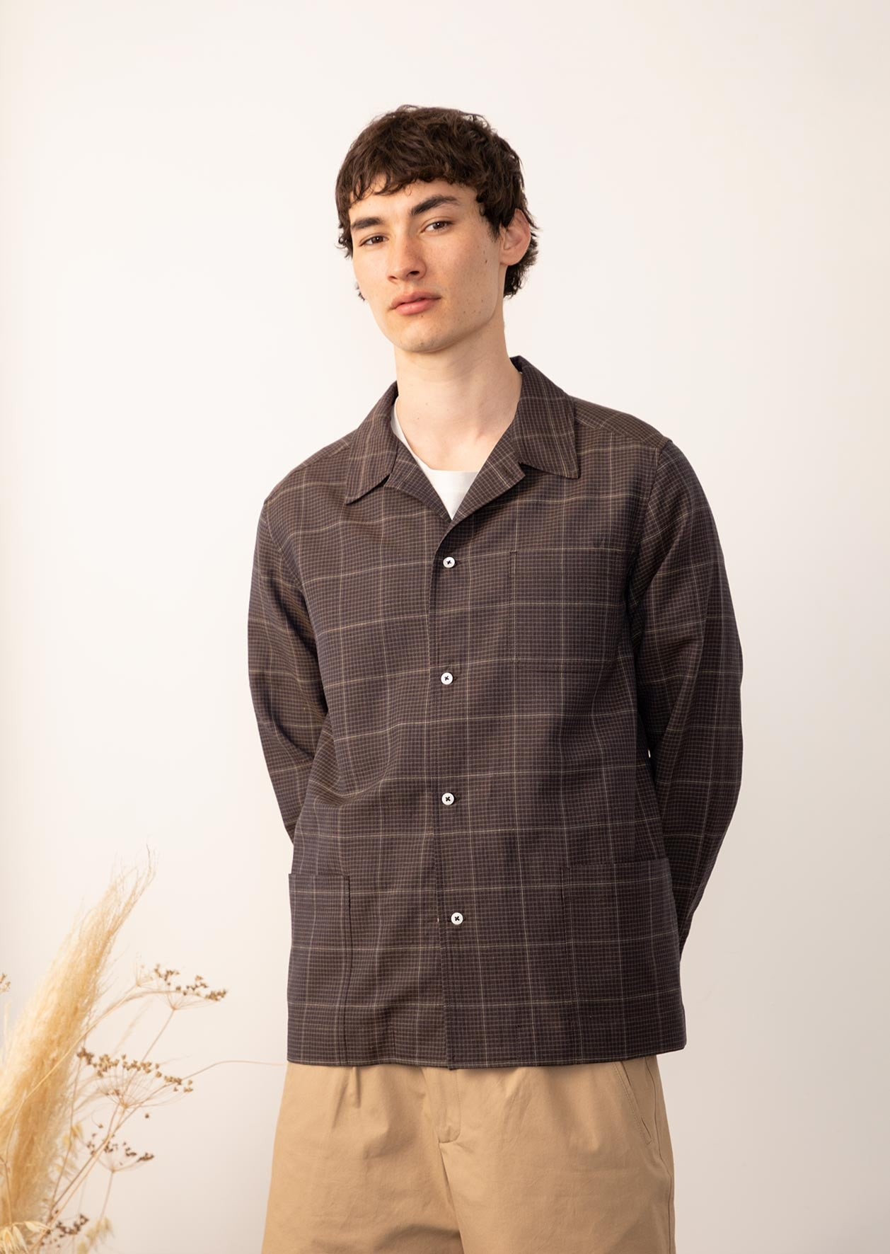 De Bonne Facture - Painter's jacket - Washed wool & linen - Dark brown checks