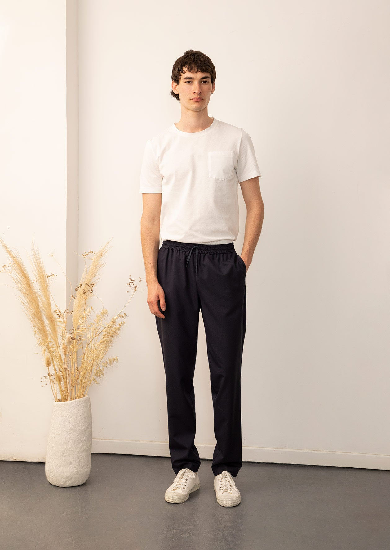 De Bonne Facture - Permanent - Easy trousers - Merino wool - Navy