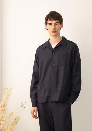 De Bonne Facture - Permanent painter's jacket - merino wool - Navy