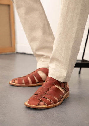 De Bonne Facture - Sandals - Oiled calfskin - Burgundy