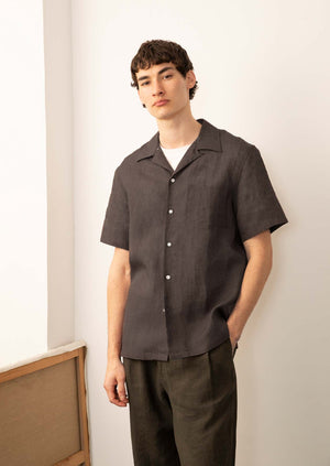 Short sleeve camp collar shirt - Light linen - Dark burgundy