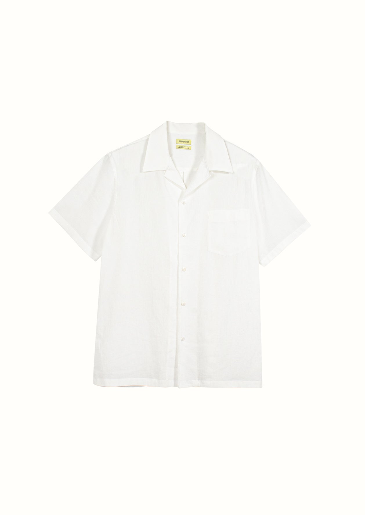 Short sleeve camp collar shirt - Crumpled cotton voile - White