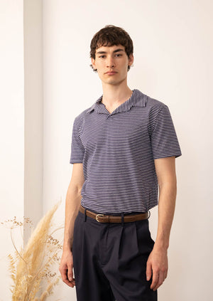 De Bonne Facture - Short sleeves polo - Cotton jersey - Navy stripes
