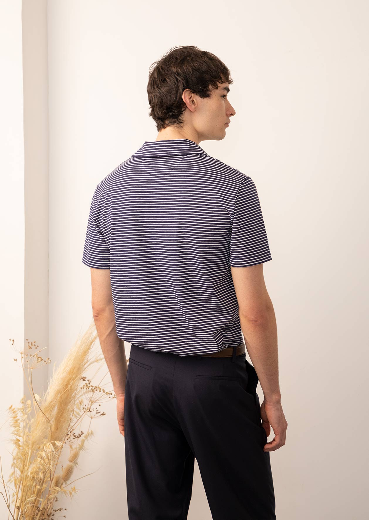 Short sleeves polo - Cotton jersey - Navy stripes