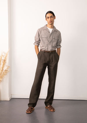 De Bonne Facture - Two pleat large trousers - Washed & brushed linen - Arabica