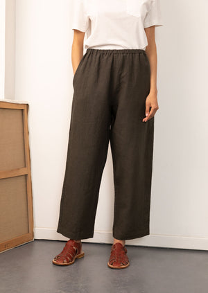 De Bonne Facture - Women - Easy trousers - Belgian washed linen - Arabica
