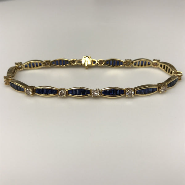Hand Made Sapphire And Diamond Tennis Bracelet Best Price Hand Made Boston Jewelers