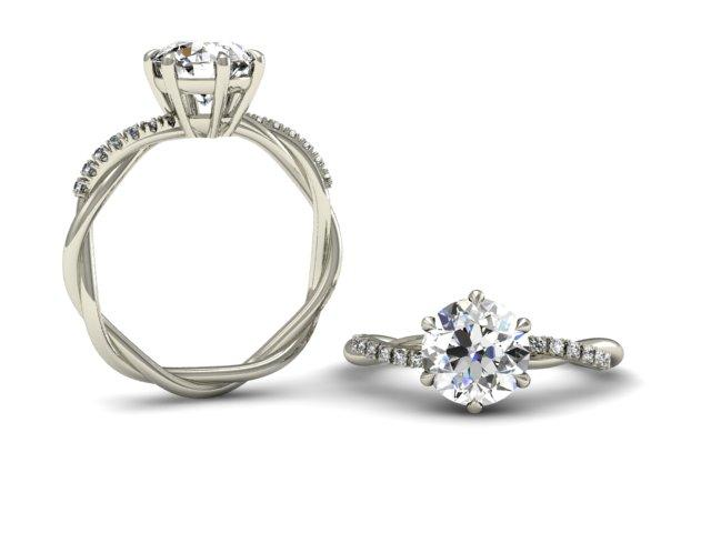 Unique Twist Diamond Setting - Custom Engagement Rings - Bostonian Jewelers Boston Jewelers
