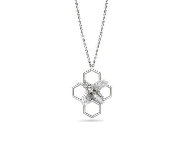 Bee Pendant Honeycomb Necklace Solid Gold