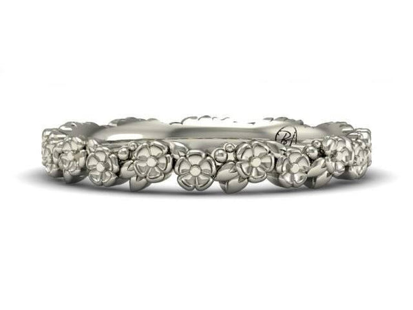 Floral Pattern Wedding Band Available In White Gold Yellow Gold Rose Gold Bostonian Jewelers Boston Jewelers