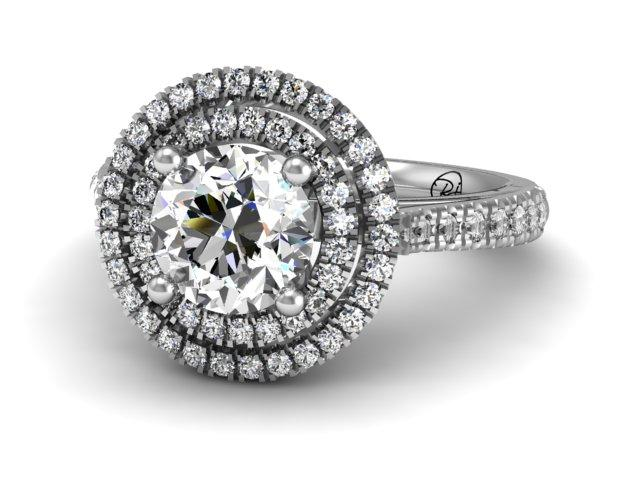 Double Halo Diamond Engagement Ring - Custom Design Boston - Boston Jewelers