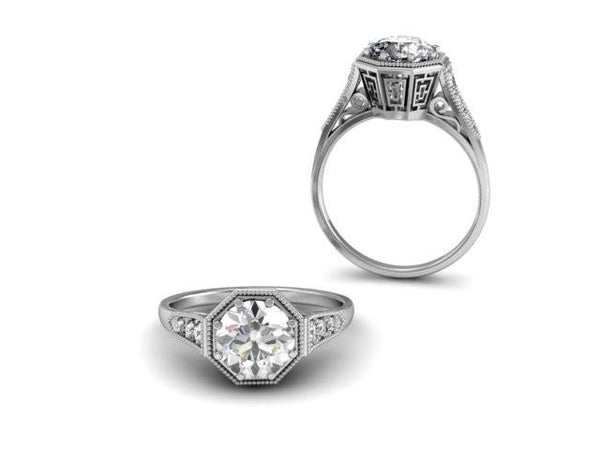 Vintage Style Engagement Ring Custom Design Boston Jewelers