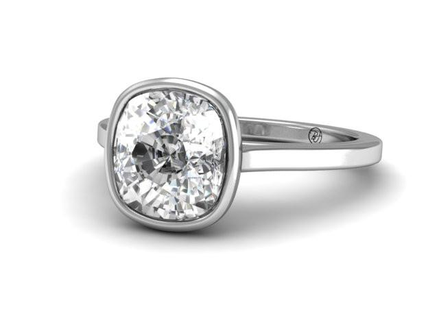 Custom Bezel Solitaire Engagement Ring Boston's Best Jeweler