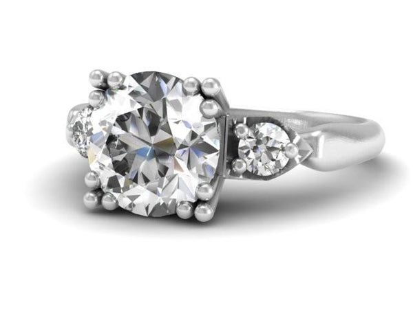 Vintage Classic Inspired Engagement Ring Custom Design Boston Jewelry
