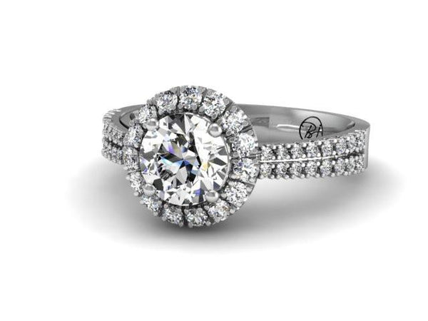 Unique Custom Engagement Ring Double Row Diamonds Band Boston Custom Design