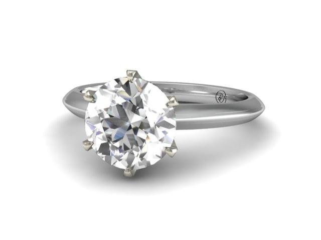 Solitaire Engagement Ring - Classic Six Prong Ring - Bostonian Jewelers