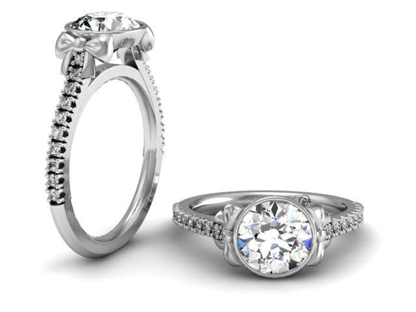 Bostonian Bow Diamond Setting - Custom Engagement Rings - Bostonian Jewelers Boston Jewelers