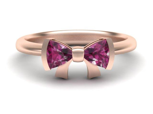 Custom Made Rose Gold Pink Tourmaline Bow Ring - Bow Tie Ring - Custom Made - Bostonian Jewelers Boston Jewelers