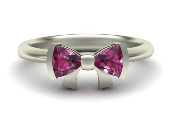 Custom Made White Gold Pink Tourmaline Bow Ring - Bow Tie Ring - Custom Made - Bostonian Jewelers Boston Jewelers