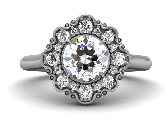 Bostonian Charlotte - Unique Vintage Setting - Custom Engagement Ring - Boston Jeweler