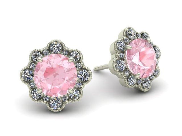 Halo Earrings Gorgeous Floral Morganite Diamond Studs Custom Made Boston Jewelers