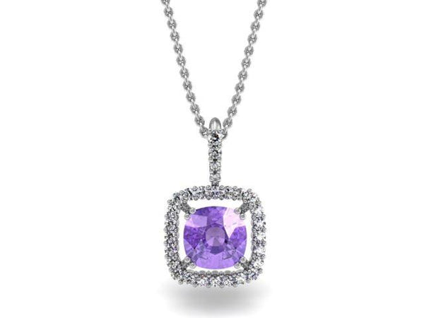 Cushion Halo Pendant Necklace - Custom Design - Bostonian Jewelers