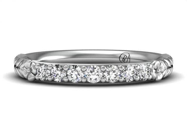 Unique Diamond Floral Band Custom Jewelers Boston