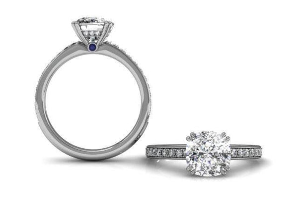 Platinum Double Prong Cushion Diamond Engagement Ring-Straight Row Pave Diamonds-Comfort Fit-Boston Jewelers