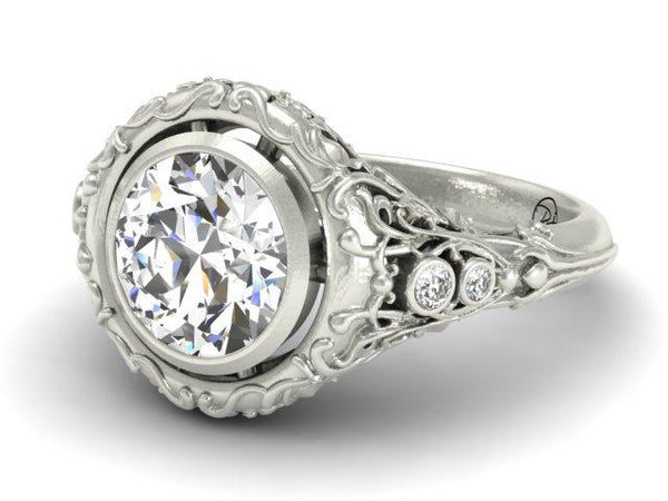 Amazing Detail Organic Garden Vines Engagement Ring Unique Custom Jewelers Boston