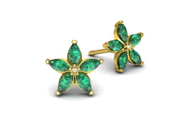 Gemstone Star Earrings - Custom Design - Bostonian Jewelers