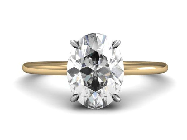 Oval Solitaire Slim Band - Custom Engagement Ring Thin Band - Bostonian Jewelers Boston Jewelers