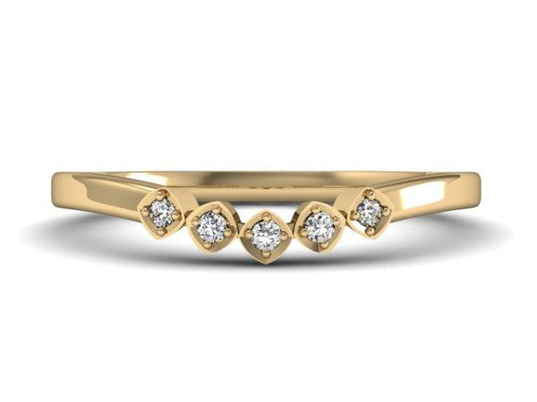 Contentment Nesting Ring - Delicate Curved Diamond Band - Custom Boston Jeweler