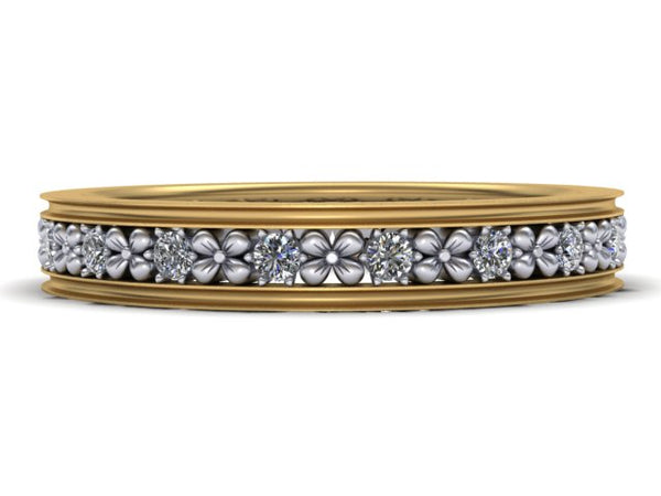 Platinum and Yellow Gold Floral Diamond Eternity Band