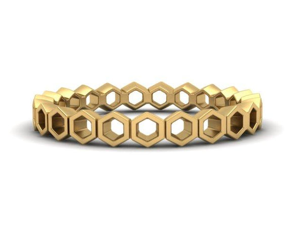 Hexagon Band Honeycomb Ring Eternity Hexagons Boston Custom Design