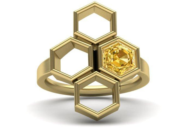 Honeycomb Custom Inspired Ring with citrine