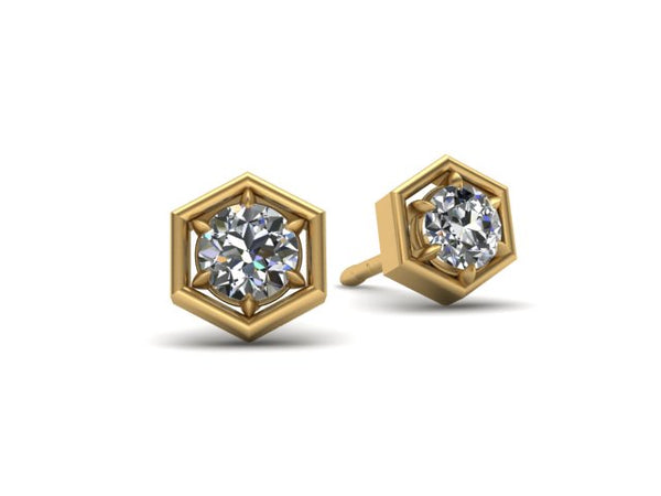 Hexagon Honeycomb Diamond Stud Earrings