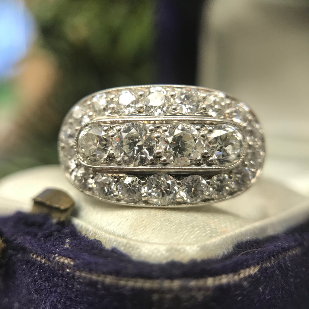 Antique Art Deco Vintage Diamond Cluster Ring Hand Made In Platinum Boston Jewelers