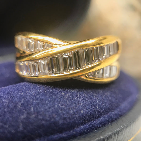 Hand Made Diamond Baguette Tiffany X Style Ring 18K Yellow Gold Boston Jewelers